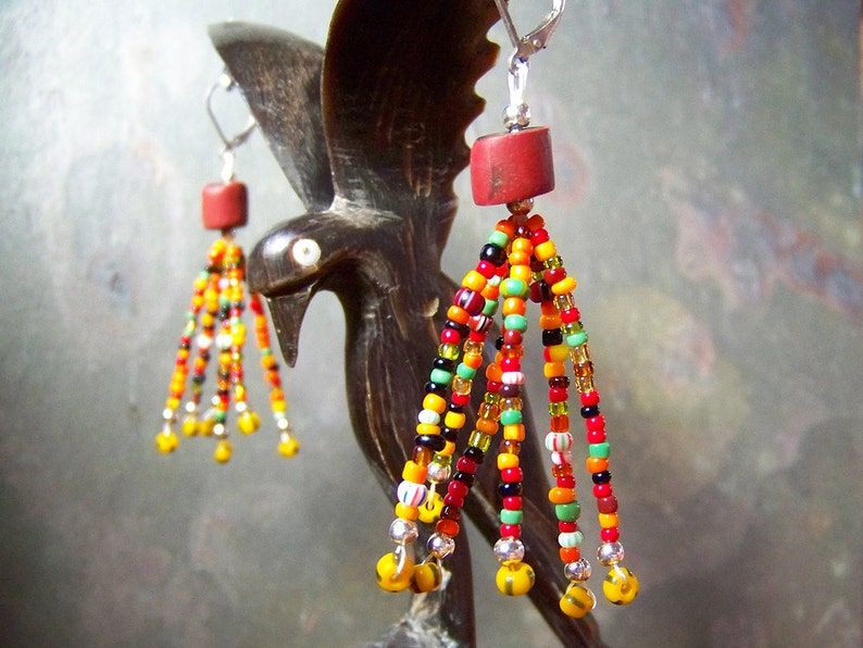 Rasta Earrings  Colorful Tassel Earrings  African Trade Bead image 0
