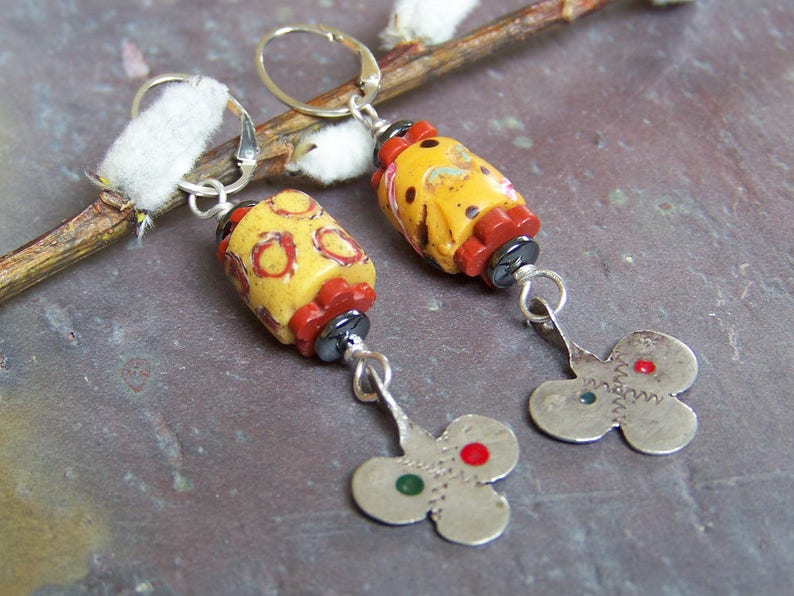 Old Tribal Earrings with High Grade Silver Sahrawi Moroccan image 0