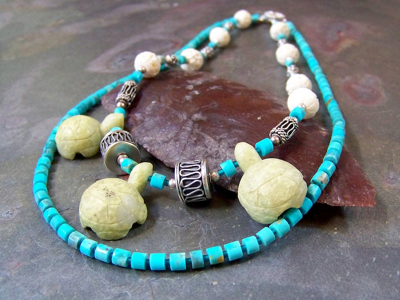 Real Turquoise Bib Necklace  Carved Stone Turtle Totem Choker image 0