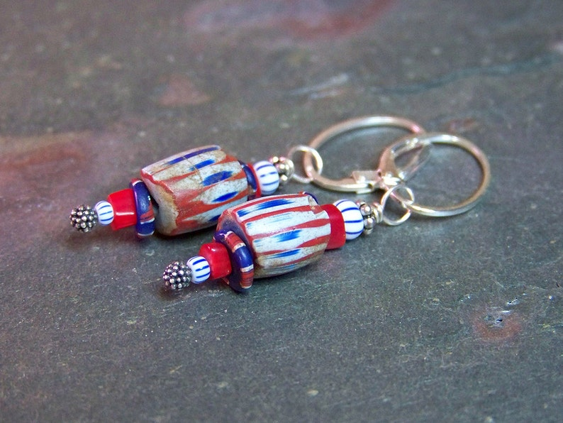 Trade Bead Earrings  Fun Ethnic Earrings  Antique African image 0