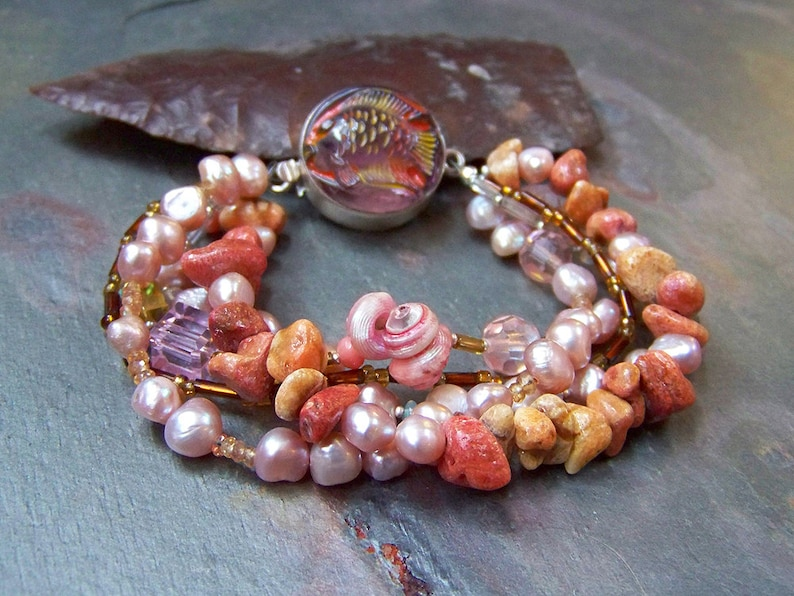 Coral Bracelet with Sterling Silver Tropical Fish Clasp  Boho image 0