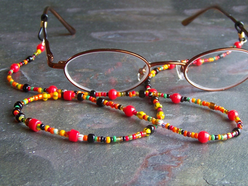 Sunglasses Lanyard  Tribal Glasses Cord  Red Spectacles image 0