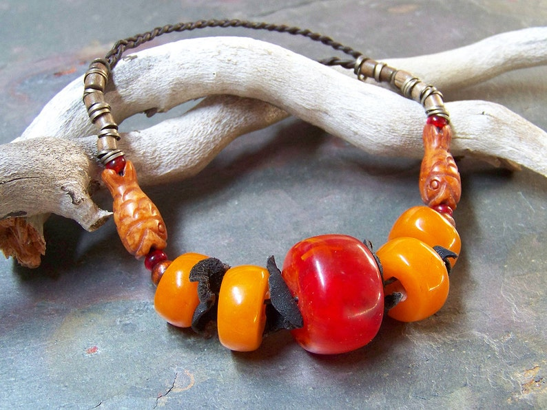 Copal Amber Necklace  Braided Leather Necklace Beaded with image 0