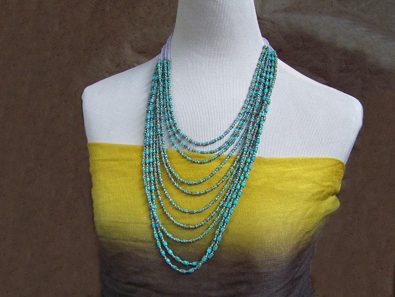 Turquoise Bib Necklace  Nacozari & Kingman Mine Turquoise image 0
