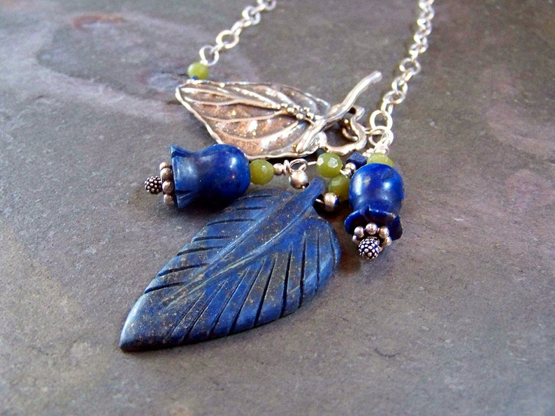 Lapis Lazuli Pendant  Sterling Silver Leaf and Flower Chain Y image 0