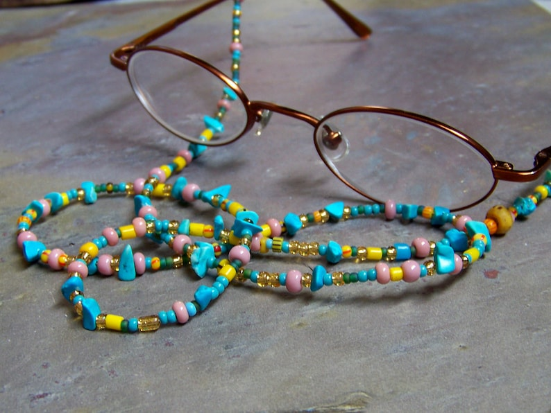 Glasses Chain  Eye Glasses Necklace in Blue and Gold  Pink image 0