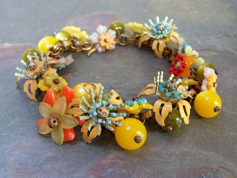 Enamel Flower Charm Bracelet  Autumn Colored Vintage Metal image 0