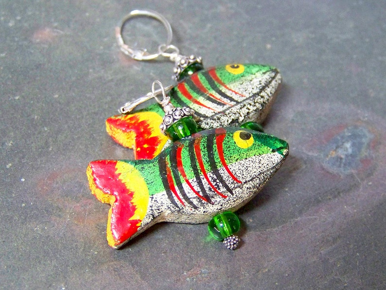 Fishing Lure Earrings on Sterling Silver Leverbacks  Ethnic image 0
