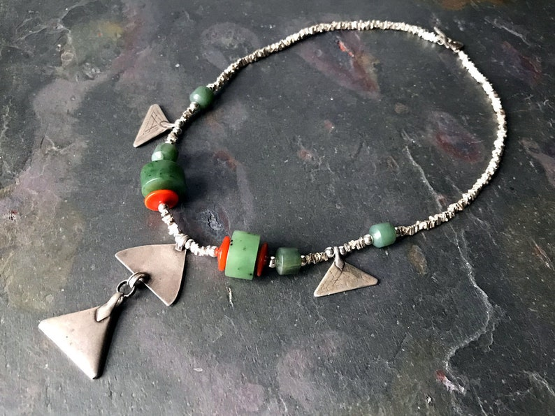 Triangle Necklace  Old Tribal Coin Silver Amulets from India image 0