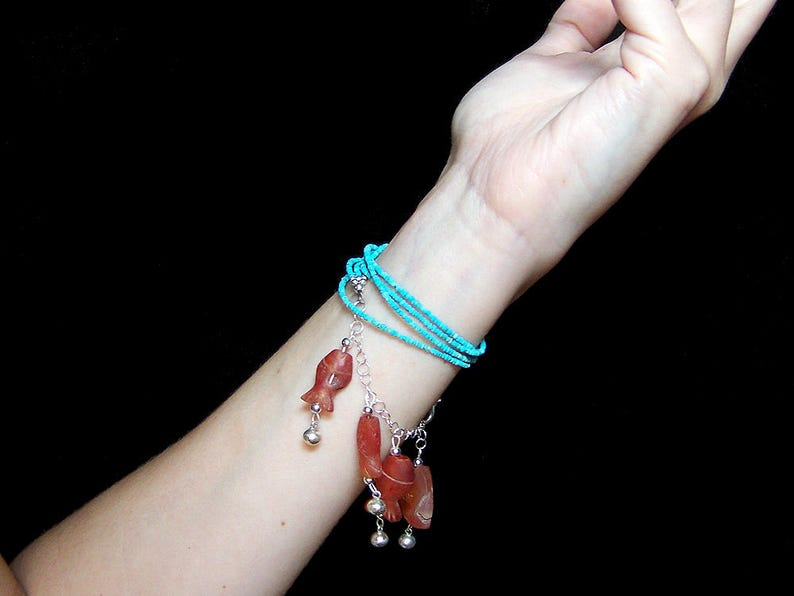 Turquoise Wrap Bracelet with String of Fish  Carved Goldfish image 0