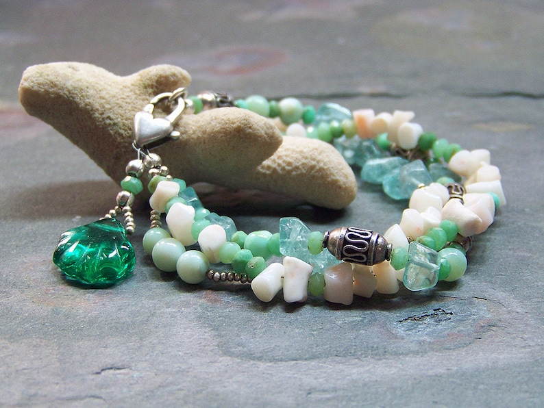 Multistrand Gemstone Bracelet with Sea Shell  Sea Green and image 0