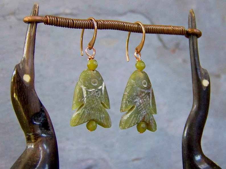 Simple Olive Green Dangle Earrings with Pure Copper and Brass Ear Wires Natural Serpentine Jewelry Stone Fish Earrings