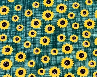 Sunflower Print Quilting Fabric - Cotton Quilting Fabric By The Yard - BHY