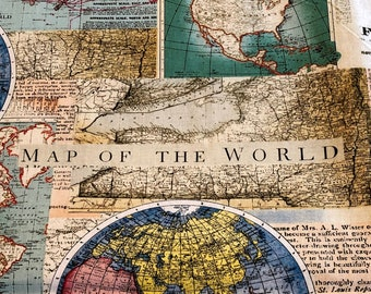 Old world fabric etsy map of the world map fabric novely quilting fabric fabric by the yard bhy gumiabroncs Gallery