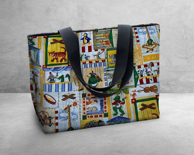 Shipping Free U.S Vintage Animal Puppets Shoulder Bag  Tote Bag   Book Bag  Carry All