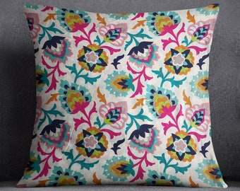 "Bohemian Floral Pillow Cover - ""Abernathy Boho"" - Patterned Accent Pillow - Throw Pillow - 16 x 16 Pillow Cover"