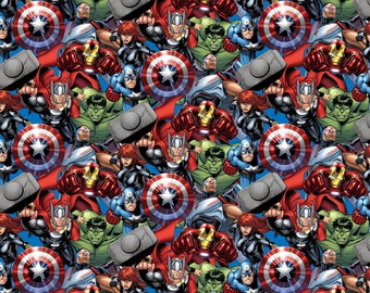 Marvel Comic Fabric - Packed Avengers - Spring Creative - Fabric by the yard