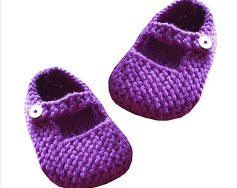 Knitting Pattern for Mary Jane Baby Shoes 12-18 months - PDF Pattern - Instant Download