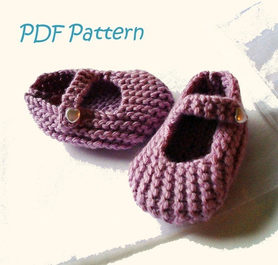Knitting Pattern For Mary Jane Baby Shoes 3 6 Months Pdf Etsy