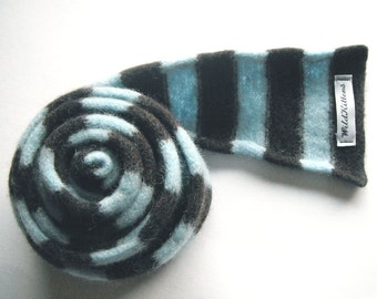 Child's Scarf in Light Sky Blue and Chocolate Brown - Felted Merino Lambswool