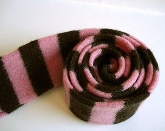 Felted Merino Lambswool Child's Scarf in Pink and Chocolate, Handmade in Scotland