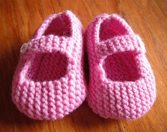 Knitting Pattern for Mary Jane Baby Shoes 6-12 months - PDF Pattern - Instant Download