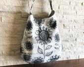 2way One Handle Hobo Bag - Sunflower on Wood