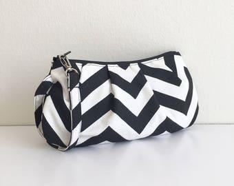 SALE // Pleated Wristlet Zipper Pouch // Clutch - Black and White Chevron