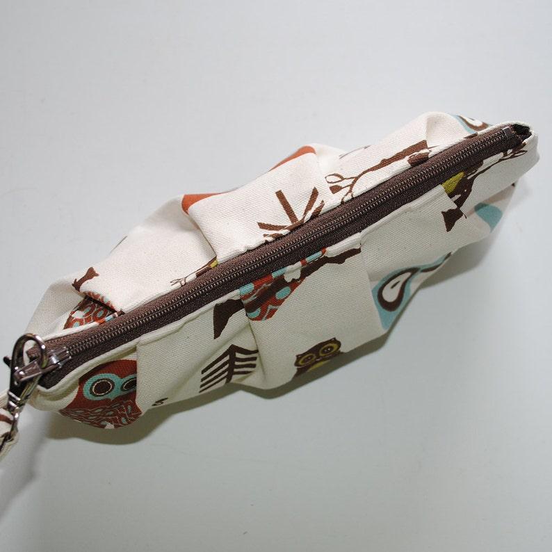 Pleated Wristlet Zipper Pouch Hooty Owl Village