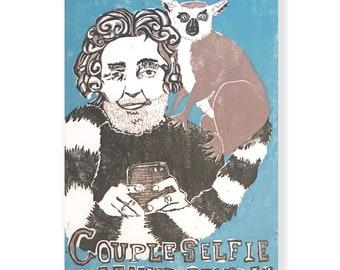 Couple Selfie with Lemur Stand-In (multiple block linocut print) AQUA