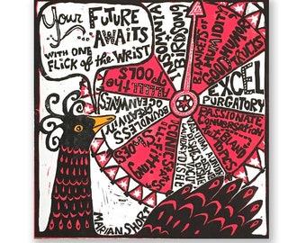 Your Future Awaits (original linocut print) hot pink