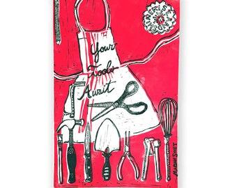 Your Tools Await (original linoleum print) cherry red
