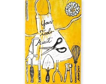 Your Tools Await (original linoleum print) yellow