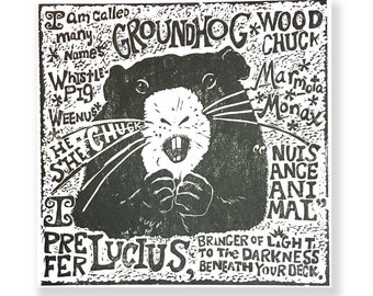 A Groundhog by Any Other Name (linocut)
