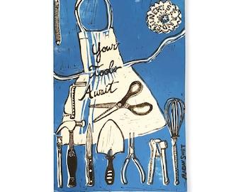 Your Tools Await (original linoleum print) milky blue