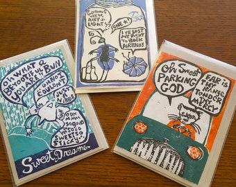 Original Linocut Cards (Parking God, Sweet Dreams, AirBnB)