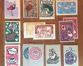 Linocut Cards -- Three Pack -- Choose Your Faves