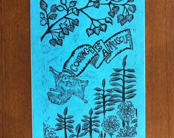 Courage is a Muscle Flying Squirrel (linocut, aqua)