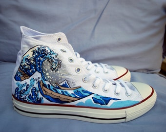 4363ac44c8b0 Hand Painted Converse Shoes - The Great Wave Off Kanagawa - White