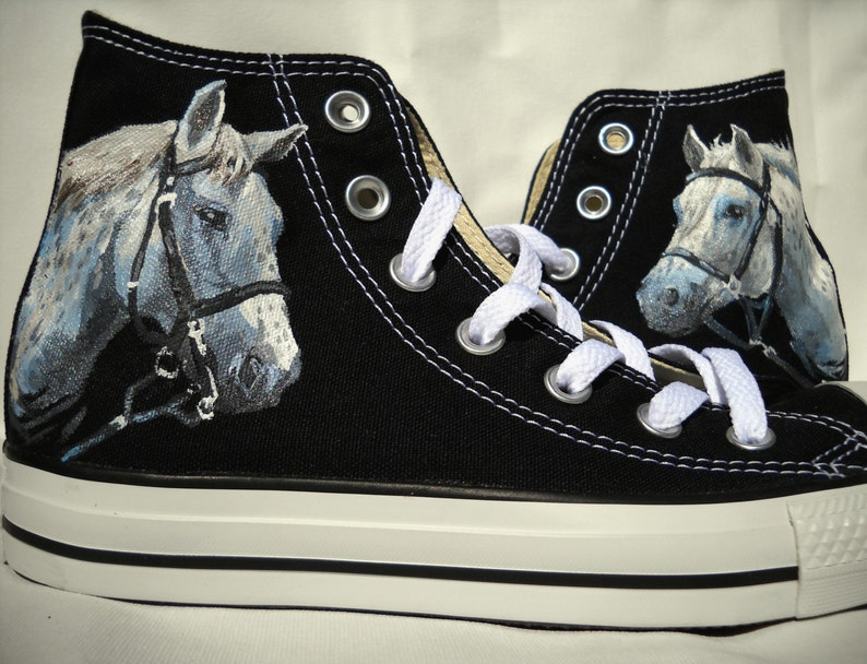aec710d34760d7 White Horse Hand Painted Converse Shoes