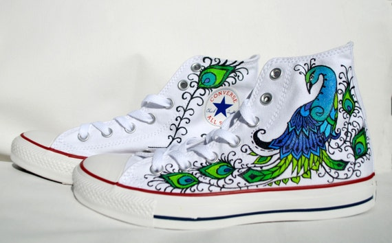 Peacock Converse shoes Hand Painted | Etsy