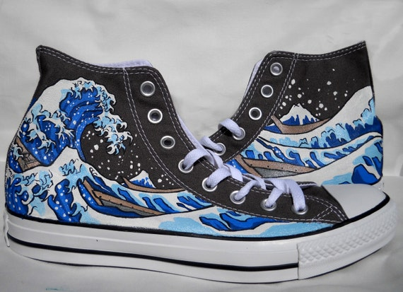 6890d561a476 Hand Painted Converse Shoes The Great Wave Off Kanagawa