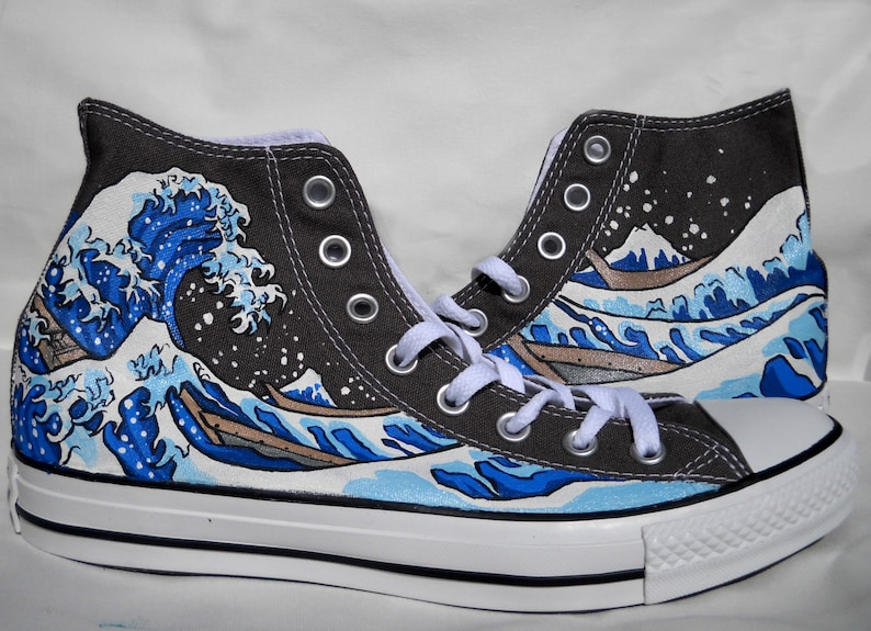 86e4deab24c2 Hand Painted Converse Shoes The Great Wave Off Kanagawa