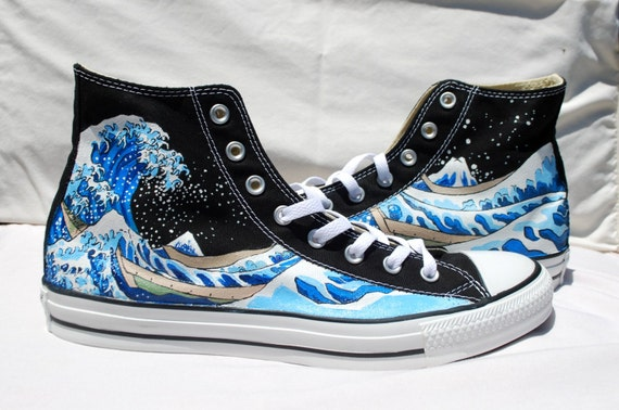 Hand Painted Converse Shoes The Great Wave Off Kanagawa Black