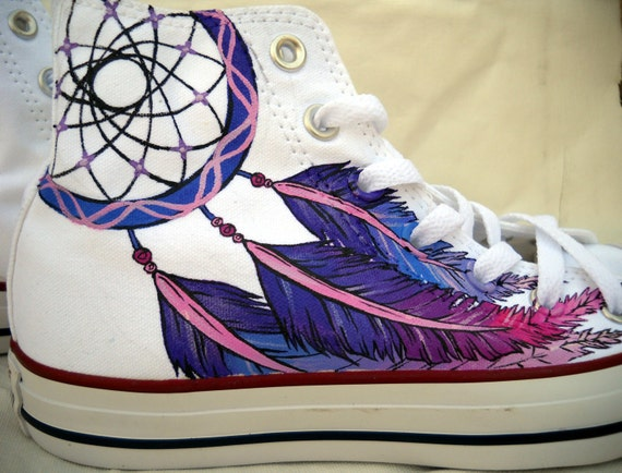 Dreamcatcher Shoes Hand Painted Converse High tops Black