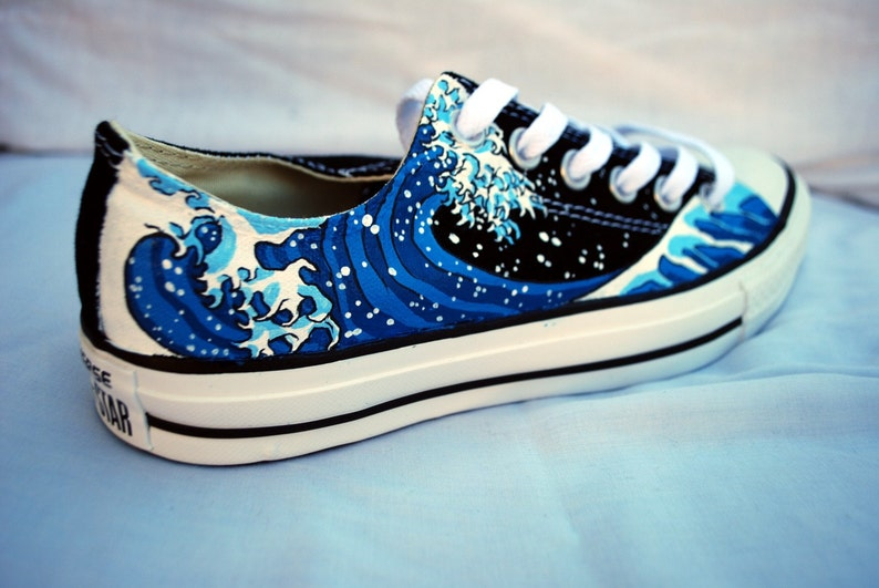 7d0c06ffc6 Hand Painted Converse Shoes The Great Wave Off Kanagawa