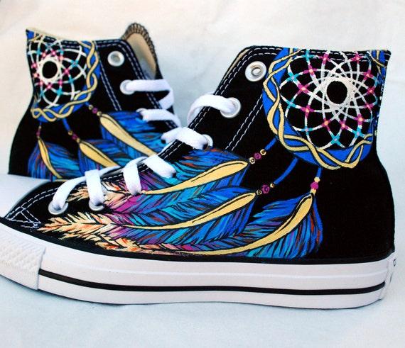 Dreamcatcher Shoes Hand Painted Converse High tops Black  136c5ba8f739