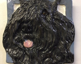 Memorial Plaque Ceramic plate with Geometric Dog Black Russian Terrier Tombstone Plaque with a Graphics