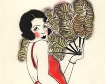 "Art Deco art print. Charlotte  - 8.3"" X 11.7"" print - 4 for 3 Sale"