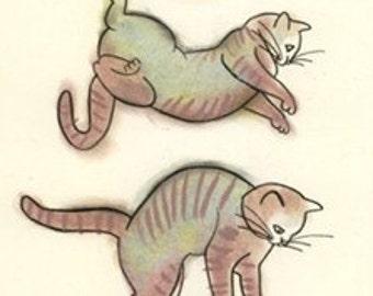 "Cat art drawing (print) - Flying Kitten - 5.8"" X 8.3"""